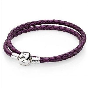 Authentic Pandora Purple Leather Bracelet